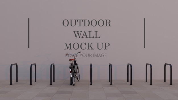 Rectangle bicycle rack outdoor wall mock up