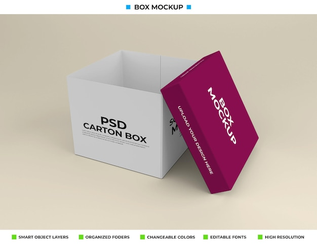 Прямоугольный макет коробки для упаковки продукта