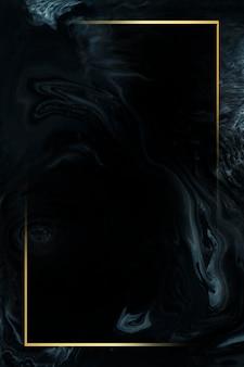 抽象的な黒い水彩モックアップの長方形の金のフレーム
