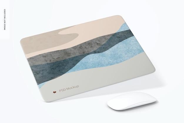 Мокап прямоугольного алюминиевого коврика для мыши, наклонный