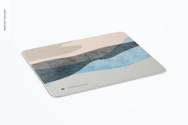 Мокап прямоугольного алюминиевого коврика для мыши, перспектива