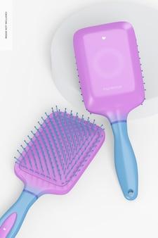 Rectangular brush for hair mockup, leaned