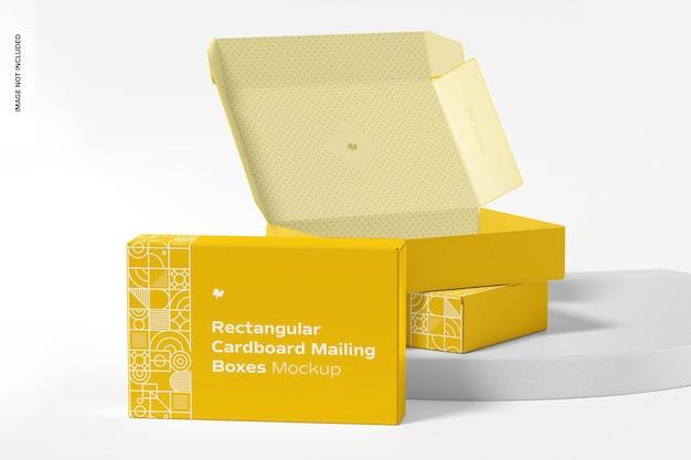 Rectangular cardboard mailing boxes mockup