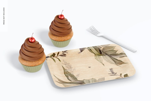 Мокап прямоугольной десертной тарелки, перспектива