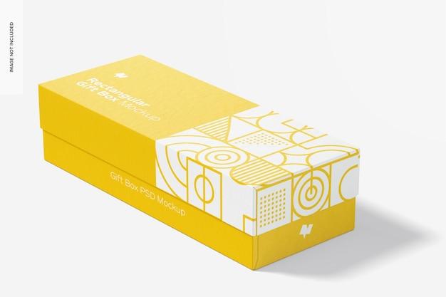 Rectangular gift box mockup, closed