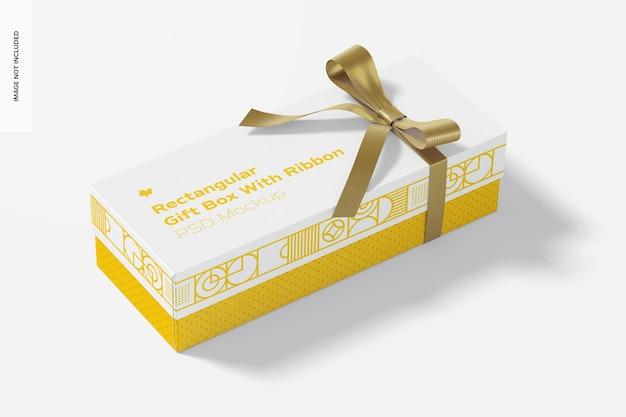 Прямоугольная подарочная коробка с макетом ленты, перспектива