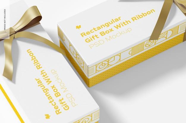 Прямоугольные подарочные коробки с макетом ленты, крупным планом
