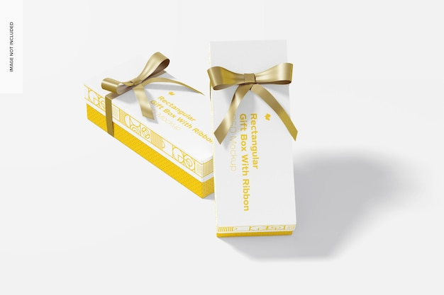 Прямоугольные подарочные коробки с макетом с лентой