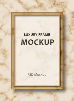 Rectangular glass frame mockup on marble background