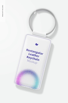 Rectangular leather keychain mockup