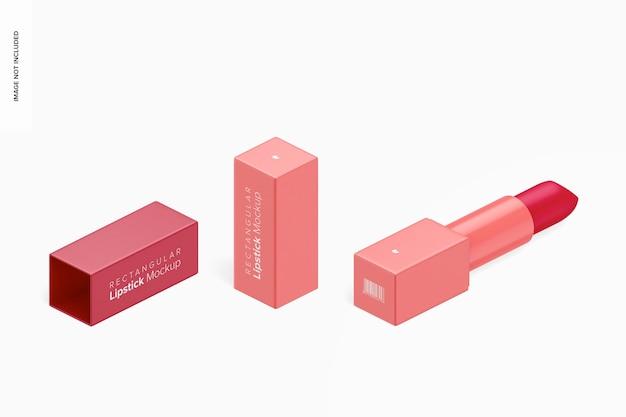 Прямоугольный макет помады, изометрический вид справа