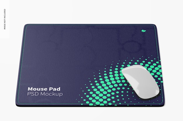 Rectangular mouse pad mockup, frontal view