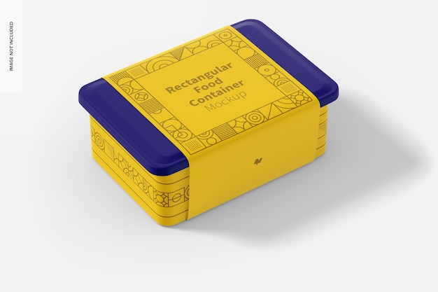 Rectangular plastic food delivery container mockup