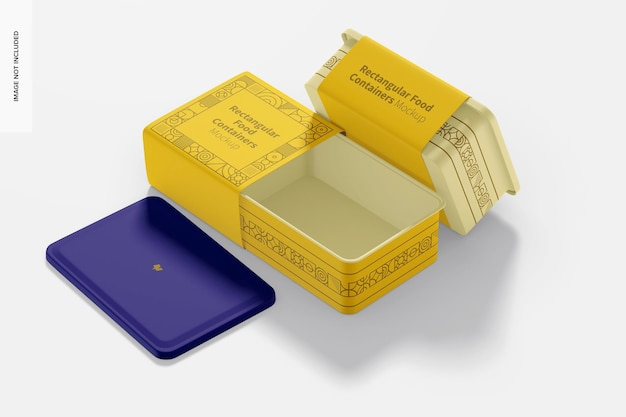 Rectangular plastic food delivery containers mockup, left view