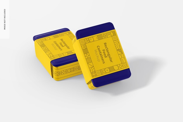 Rectangular plastic food delivery containers mockup, perspective