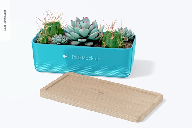 Rectangular pot with bamboo tray mockup, front view