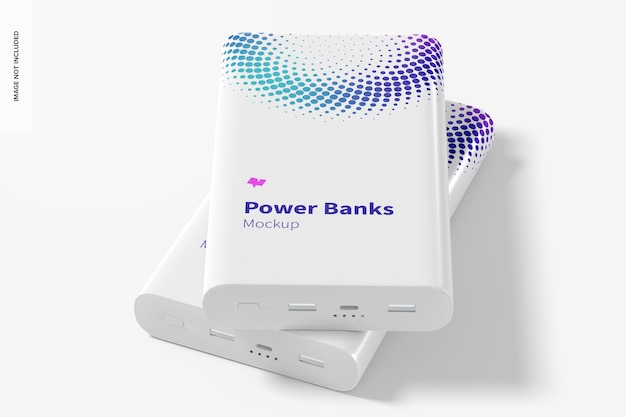 Rectangular power banks mockup, frontal view