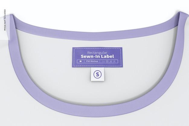 Etichetta cucita rettangolare sul modello di t-shirt