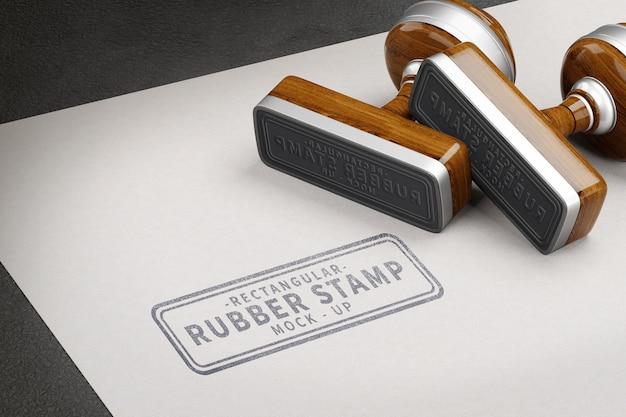 Резиновый штамп прямоугольной формы, макет