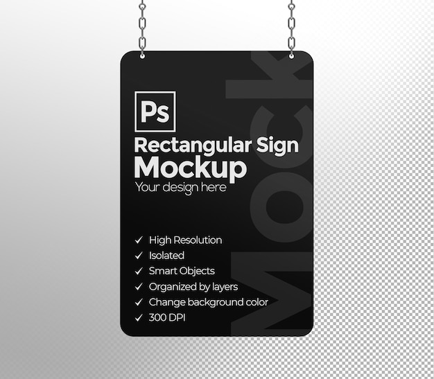 Rectangular sign mockup with chains for advertising or branding