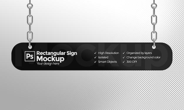広告やブランディングのためのチェーン付きの長方形のサインのモックアップ