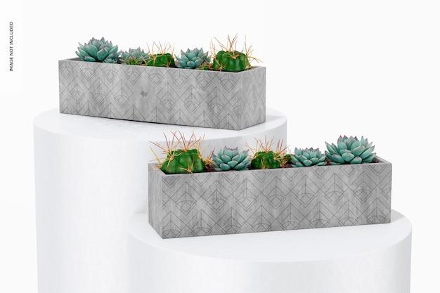 長方形のテーブルセメントプランターモックアップ、正面図