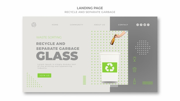 Recycle concept landing page