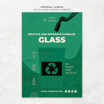 Recycle and separate garbage poster template