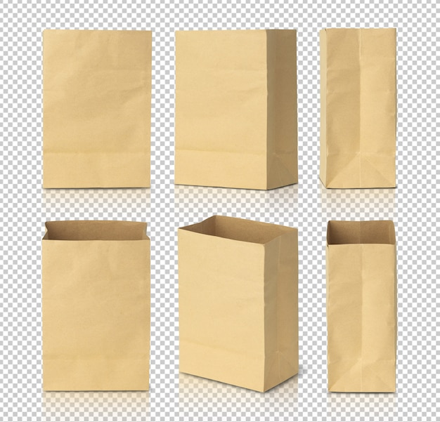 Recycled brown paper bags mockup template for your design.