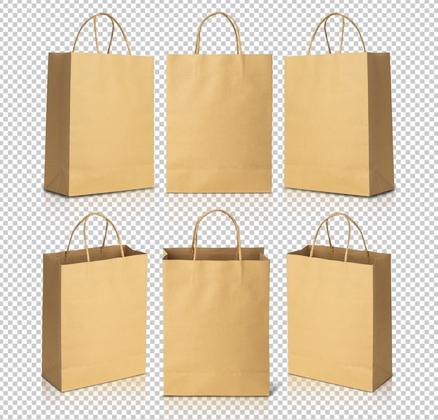 Recycled brown paper shopping bags mockup template for your design