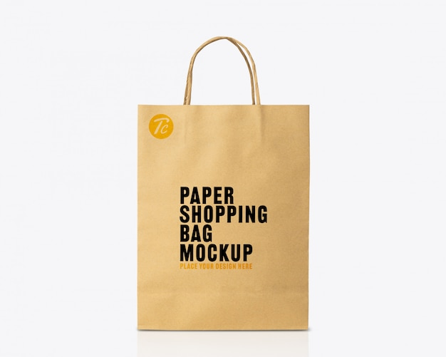 Recycled kraft brown paper bag mockup template for your design