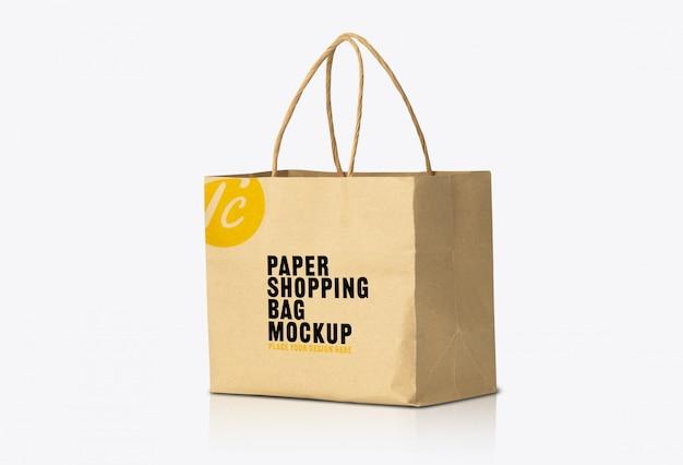 Recycled kraft brown paper bag mockup