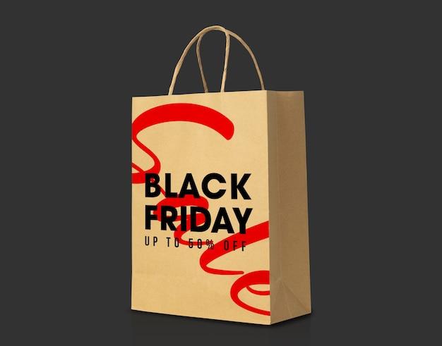 Коричневый бумажный пакет из переработанной крафт-бумаги с макетом в стиле черной пятницы