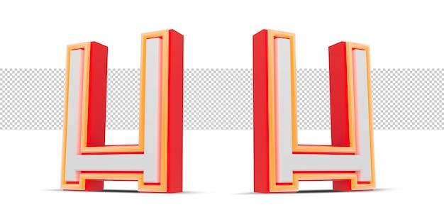 Red 3d alphabet  japan style with orange neon light, 3d rendering.
