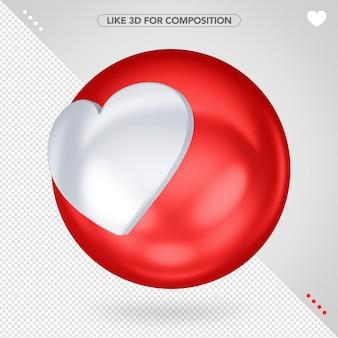 Red 3d ellipse like facebook