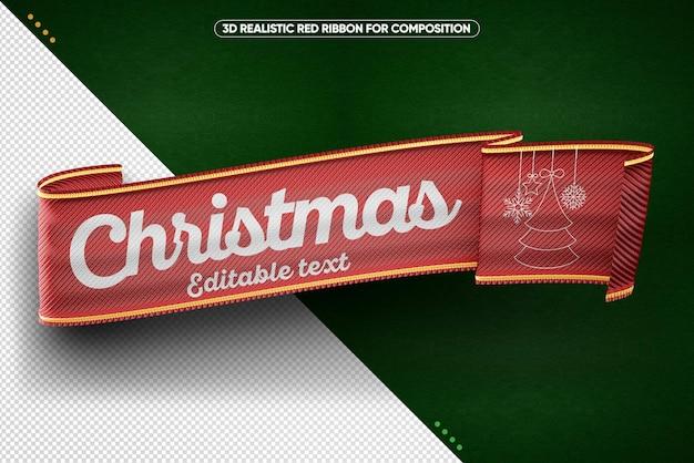 メイクアップのための赤い3dメリークリスマスの現実的なリボン