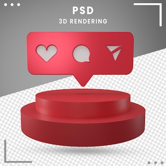 Red 3d rotated logo icon instagram isolated in 3d rendering