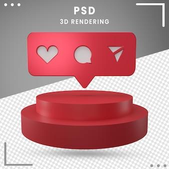 3dレンダリングで分離された赤い3d回転ロゴアイコンinstagram