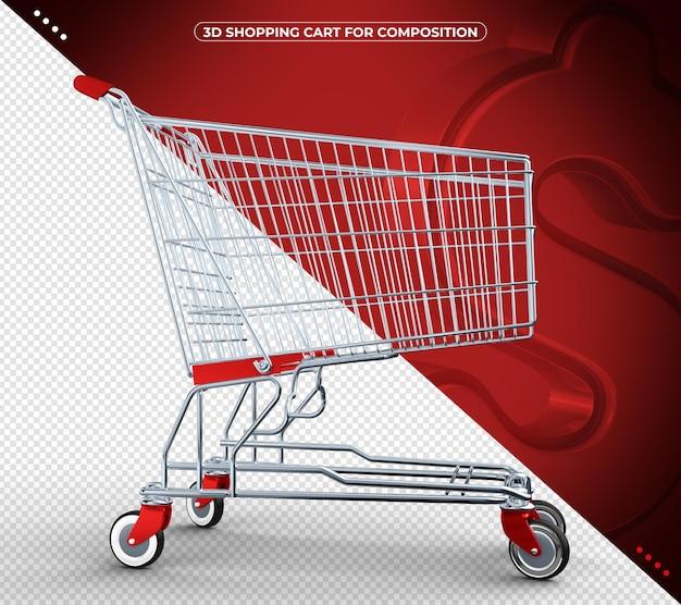 Красный 3d дизайн тележки супермаркета