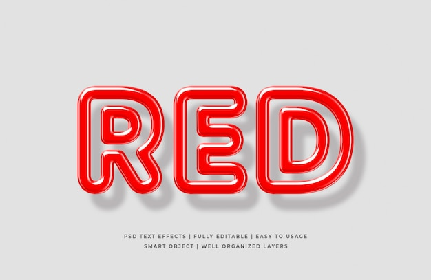 Red 3d text style effect mockup