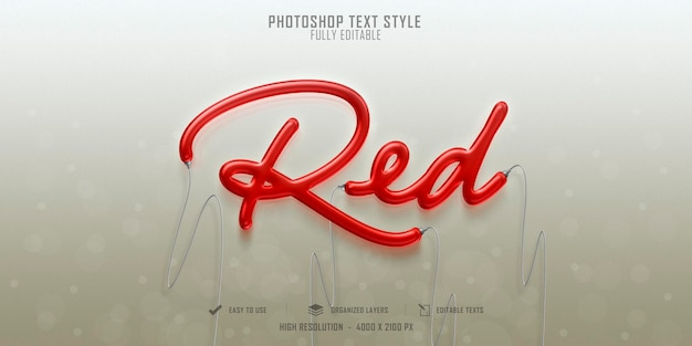 Red 3d text style effect template design