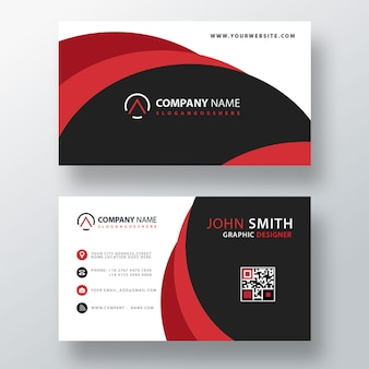 Red abstract business card template