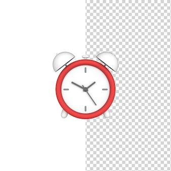 빨간 알람 시계 외딴 배경 3d 세우다 모델 디자인