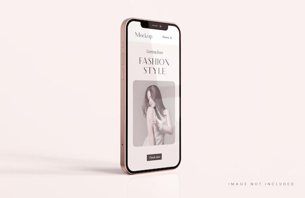 モバイルアプリのプレゼンテーションテンプレートと赤と金の電話画面のモックアップ