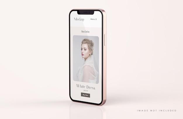 모바일 앱 프리젠 테이션 템플릿이있는 빨간색과 금색 전화 화면 모형