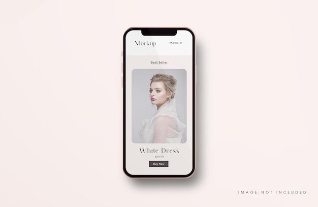 Красно-золотой макет экрана телефона с шаблоном презентации мобильного приложения