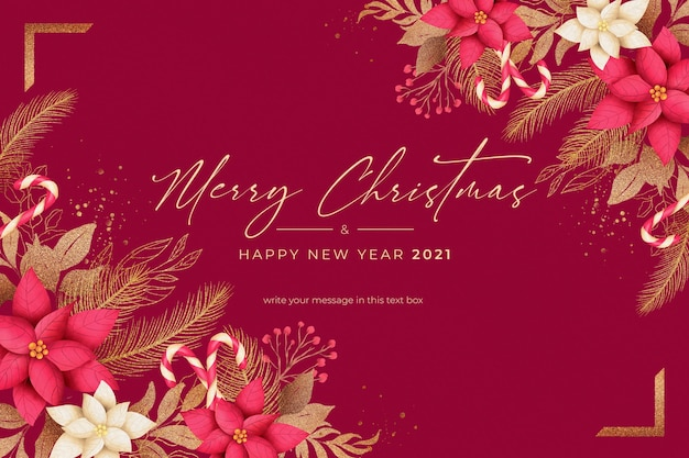 Красный и золотой новогодний фон с зимней природой