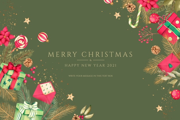 Красный и зеленый новогодний фон с подарками и украшениями