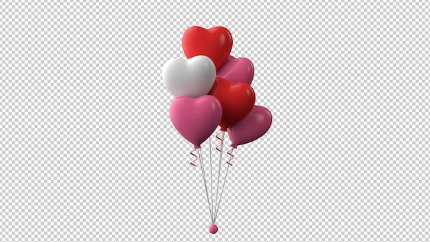 Красные и розовые воздушные шары в форме сердца в 3d визуализации
