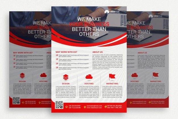 赤と白のビジネスパンフレット